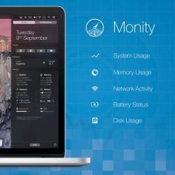 OS X Yosemiteの通知センターにメモリやCPUの使用率を表示するウィジェット「Monity」