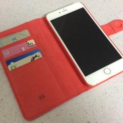 【iPhone 6 Plus】カードが3枚入る革製手帳型ケースを買ってみた。横置きスタンド機能も便利!