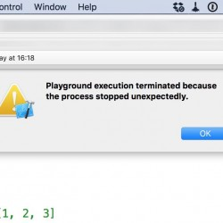 【解決】Playground execution terminated because the process stopped unexpectedlyが出た時の対処法