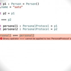 Swiftでプロトコル型に対して===演算子を使いたい時の対処法