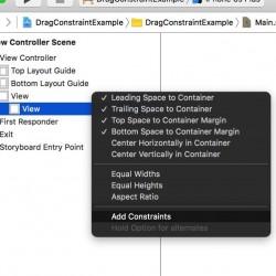 【Xcode 7】Storyboardで複数の制約をまとめて追加する方法